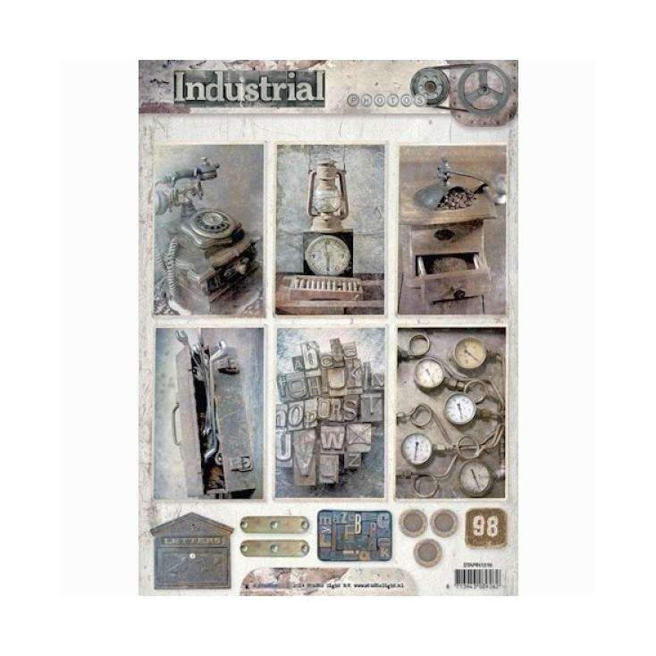 Papier do tworzenia kartek i scrapbookingu - Studio Light - Industrial - Obrazki do budowania kompozycji 02