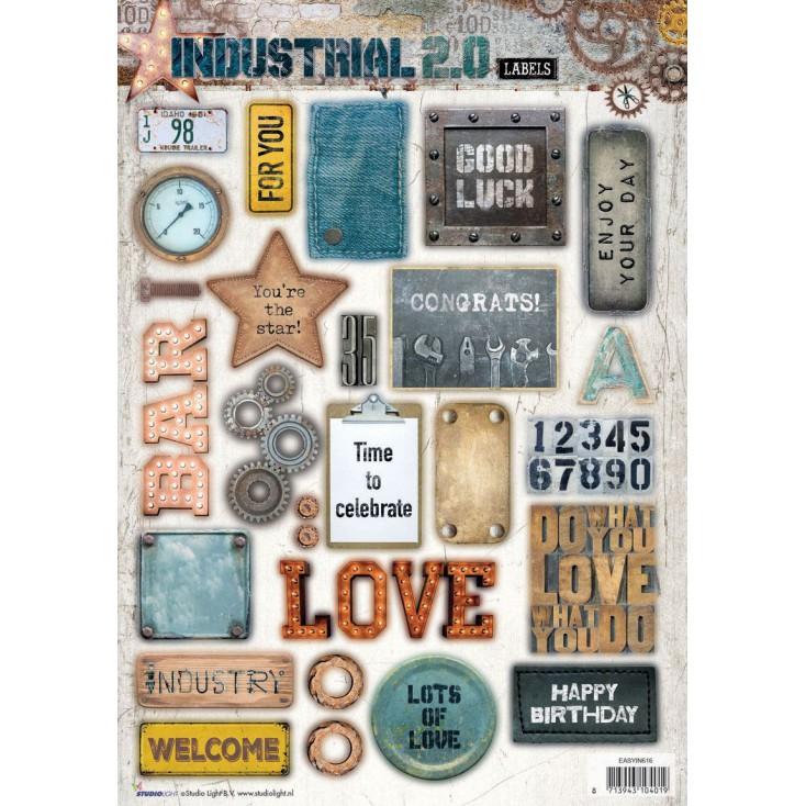 Scrapbooking paper - Studio Light - Industrial 2.0 Labels - Die Cut Sheet