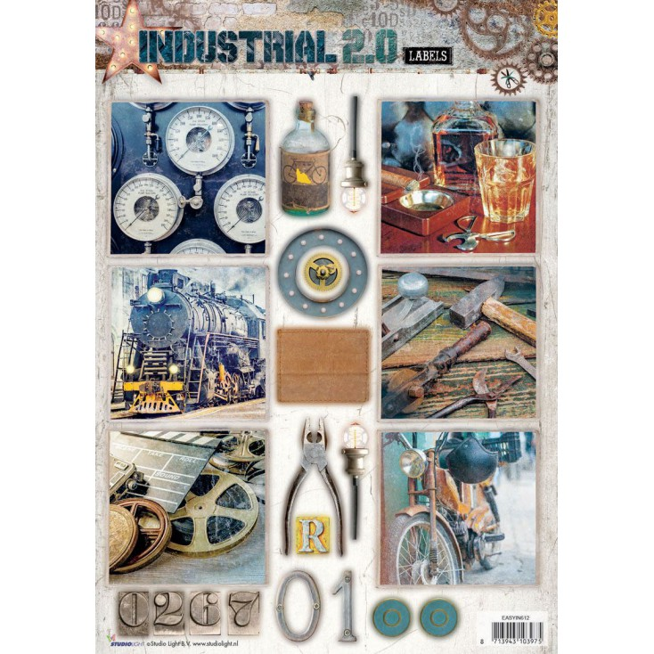 Scrapbooking paper - Studio Light - Industrial 2.0 Labels - Die Cut Sheet 4