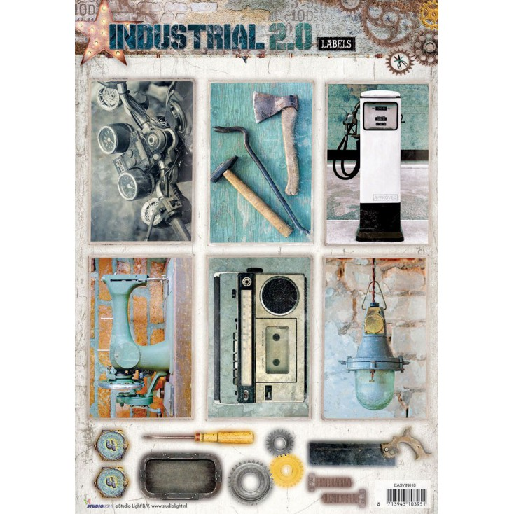 Scrapbooking paper - Studio Light - Industrial 2.0 Labels - Die Cut Sheet 6