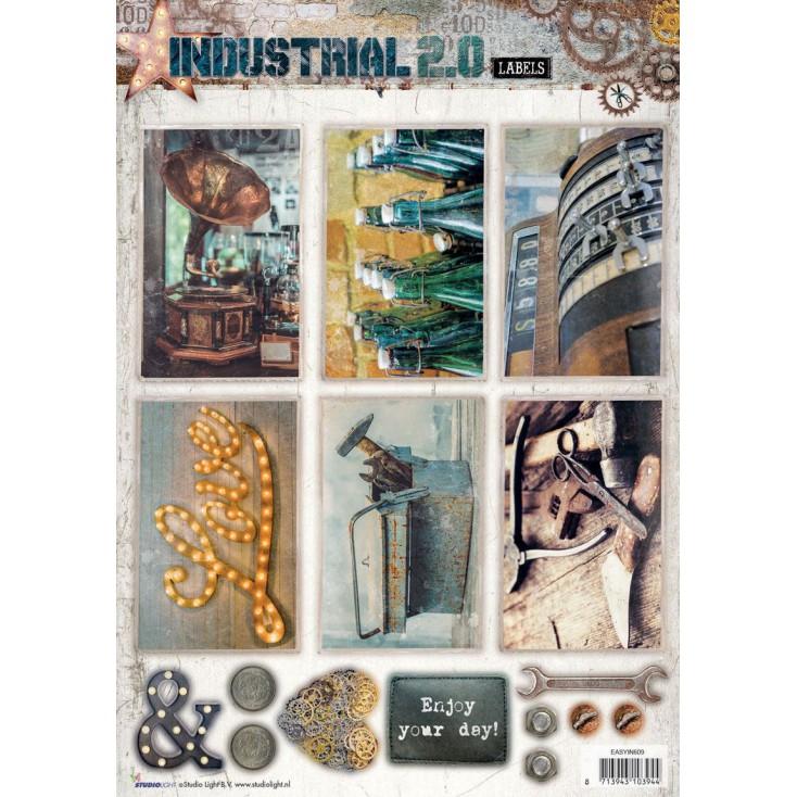 Papier do tworzenia kartek i scrapbookingu - Studio Light - Industrial 2.0 Labels - Obrazki do budowania kompozycji 7