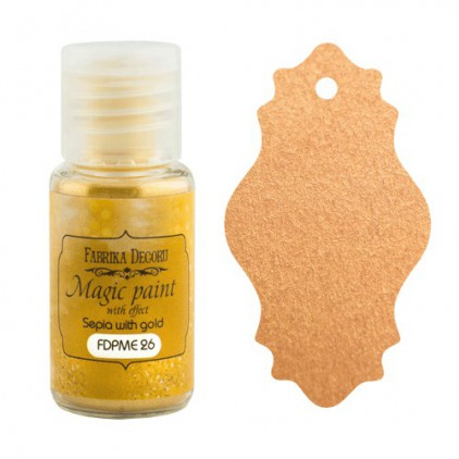 Dry, magic paint with effect - Fabrika Decoru - sepia with gold - 15ml