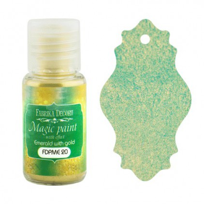 Dry, magic paint with effect - Fabrika Decoru - emerald with gold - 15ml