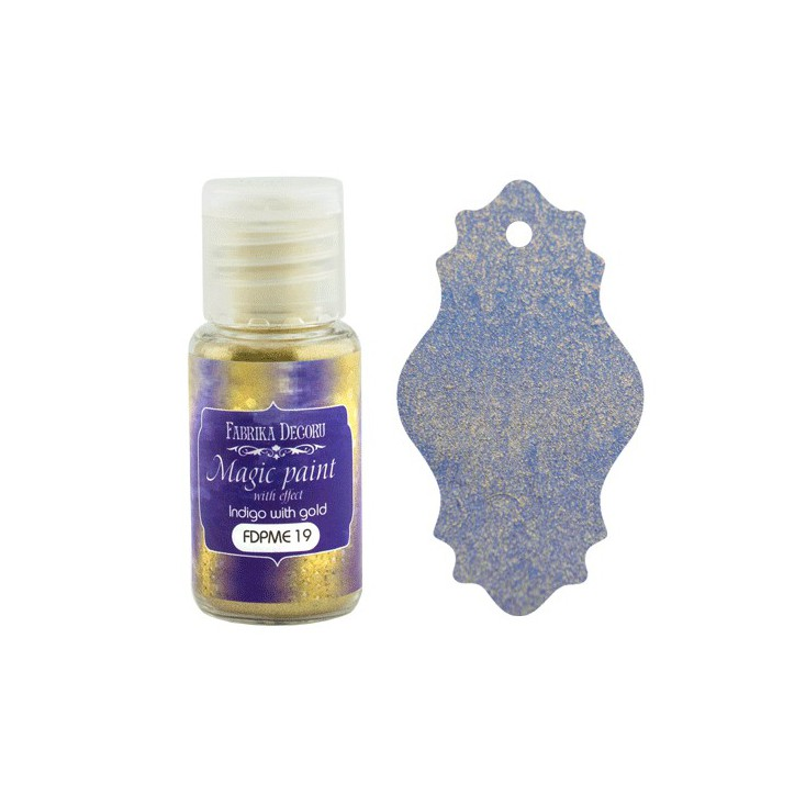 Dry, magic paint with effect - Fabrika Decoru - indigo with gold - 15ml