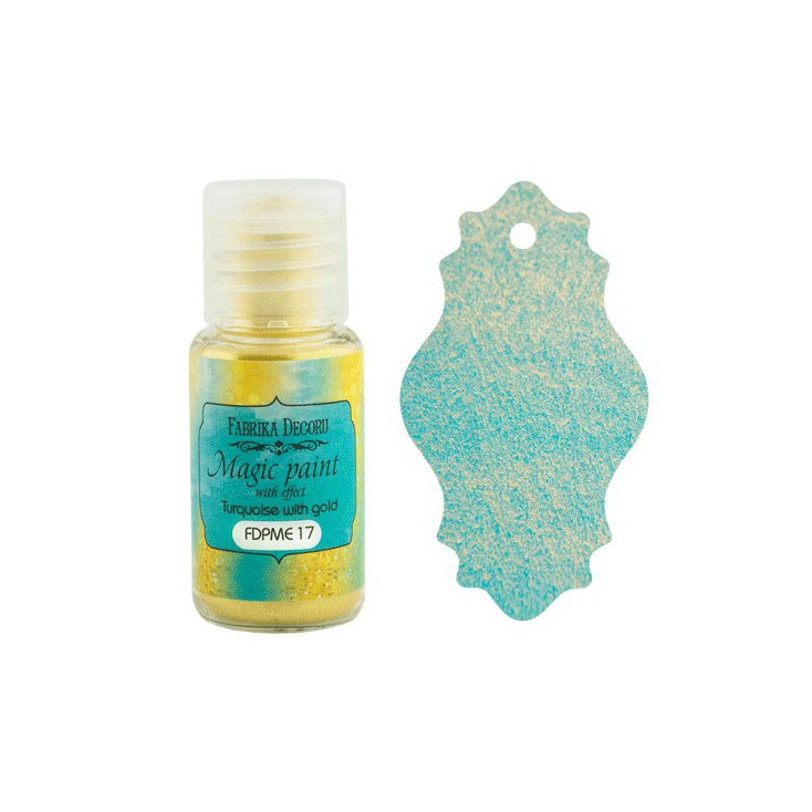 Dry, magic paint with effect - Fabrika Decoru - turquoise with gold - 15ml