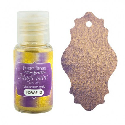 Dry, magic paint with effect - Fabrika Decoru - violet with gold - 15ml