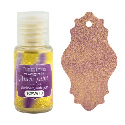 Dry, magic paint with effect - Fabrika Decoru - blackberry with gold - 15ml