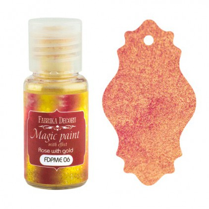 Dry, magic paint with effect - Fabrika Decoru - rose with gold - 15ml