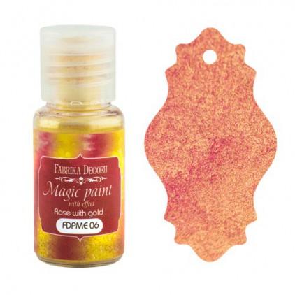 Farbka w proszku z magicznym efektem - Fabrika Decoru - róża ze złotem - 15ml