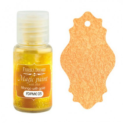 Dry, magic paint with effect - Fabrika Decoru - mango with gold - 15ml