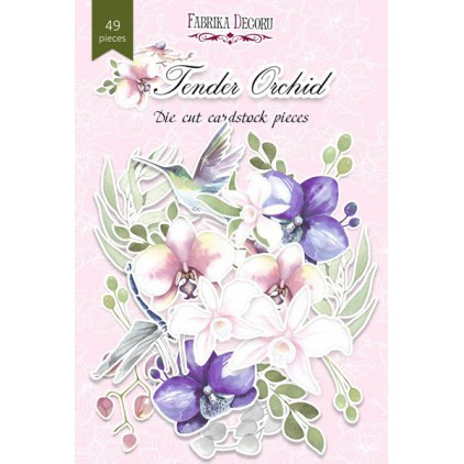 Zestaw papierowych kształtów - Fabrika Decoru - Delikatna orchidea - 49 części