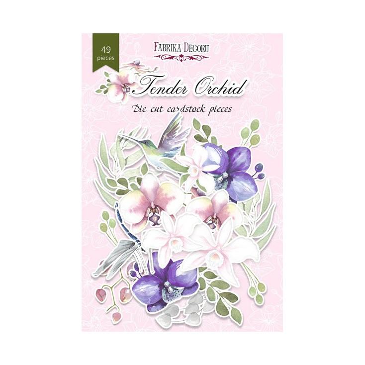 Set of die cuts - Fabrika Decoru - Tender orchid - 49pcs