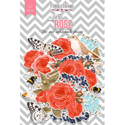 Set of die cuts - Fabrika Decoru - Red Rose - 57pcs