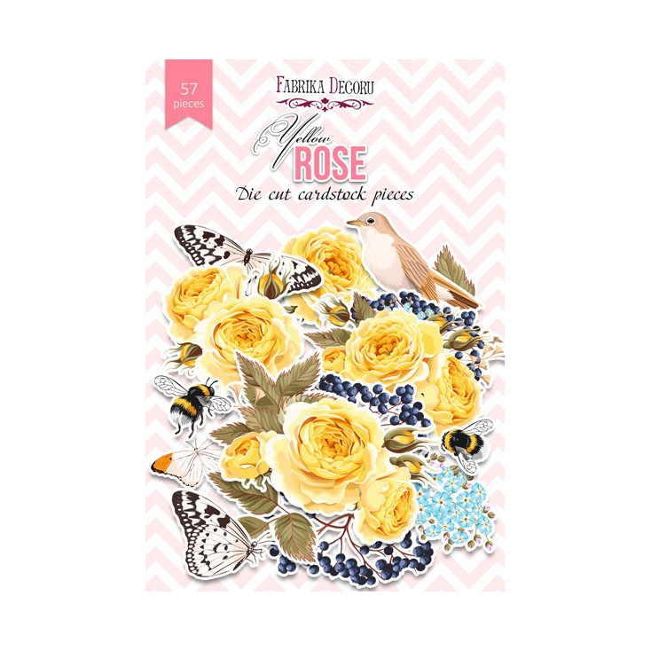 Set of die cuts - Fabrika Decoru - Yellow Rose - 57pcs