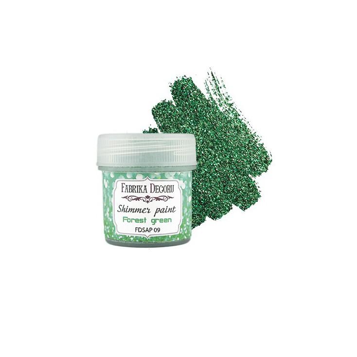 Farbka z efektem brokatowym - Fabrika Decoru - leśna zieleń - 20ml