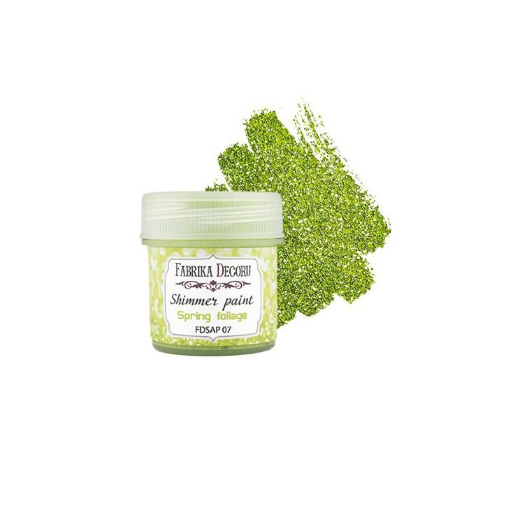 Farbka z efektem brokatowym - Fabrika Decoru - zieleń wiosennych liści - 20ml