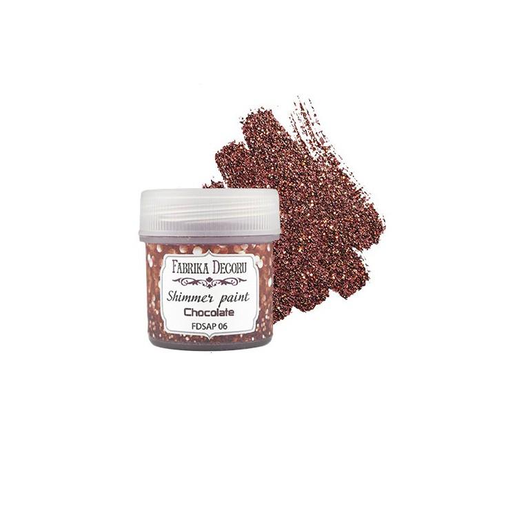 Farbka z efektem brokatowym - Fabrika Decoru - czekoladowa - 20ml
