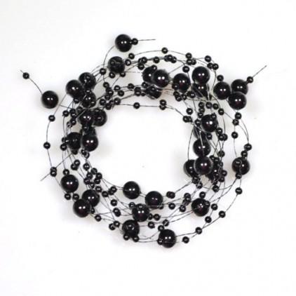 Perełki na żyłce silikonowej Ø7mm długość 130cm - czarne