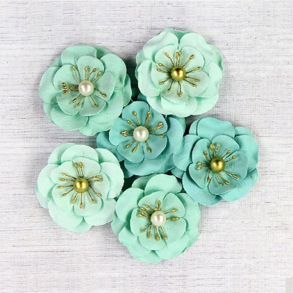 Paper flower set mint- Little Birdie - Alexa Celeste 6 pcs.