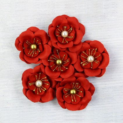 Paper flower set red with pearl- Little Birdie - Alexa Cherry 6 pcs.
