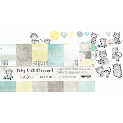Set of scrapbooking papers - Craft O Clock - My Cat Friend
