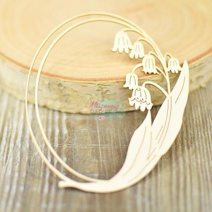 Miszmasz Papierowy - cardboard element -oval frame with lily of thevalley