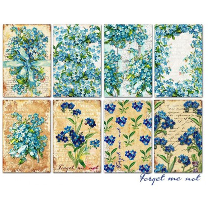 Decorer - Set of mini scrapbooking papers - Forget me not