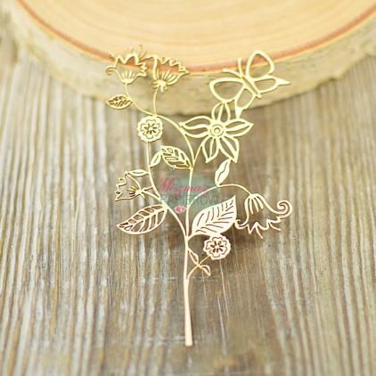 Miszmasz Papierowy - Tekturka - gałązka kwiatki i motyl