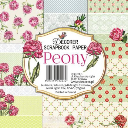 Decorer - Set of scrapbooking papers - Peony