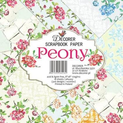 Decorer - Zestaw papierów do scrapbookingu - Peony