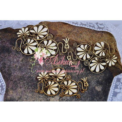 Miszmasz Papierowy - cardboard element -floral ornament -3 pcs.