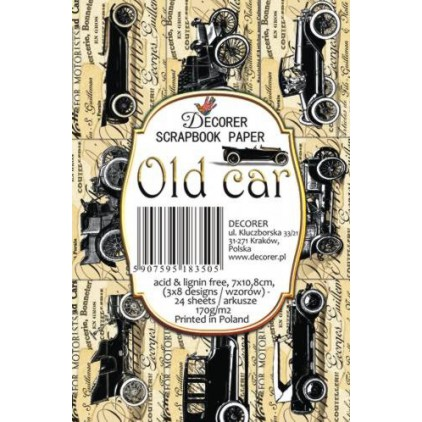 Decorer - Set of mini scrapbooking papers -  Old car