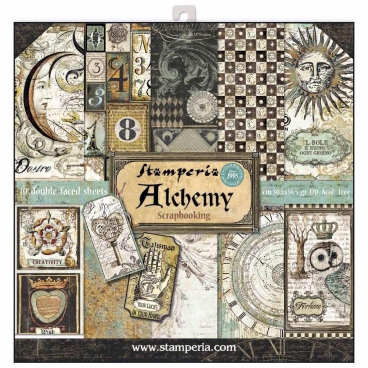 Zestaw papierów do tworzenia kartek i scrapbookingu - Stamperia - Alchemia