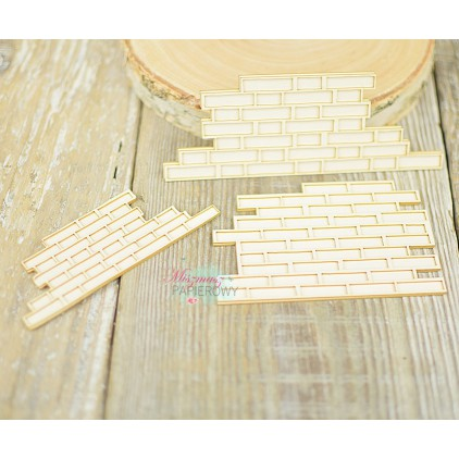 Miszmasz Papierowy - cardboard element - brick layered walls - 3 pcs.