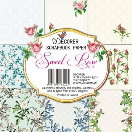 Decorer - Mały bloczek papierów do scrapbookingu - Sweet rose