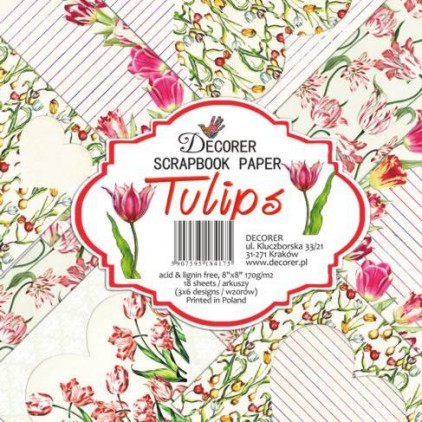 Decorer - Set of scrapbooking papers - Tulips
