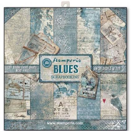 Zestaw papierów do tworzenia kartek i scrapbookingu  - Stamperia - Blues