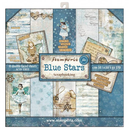 Stamperia - Set of scrapbooking papers - Blue Stars