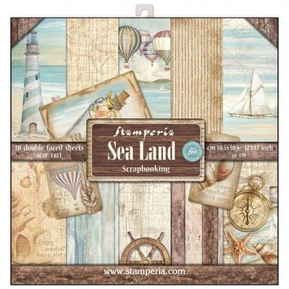 Zestaw papierów do tworzenia kartek i scrapbookingu - Stamperia - Sea Land