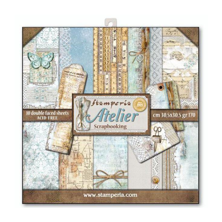 Zestaw papierów do tworzenia kartek i scrapbookingu - Stamperia - Atelier