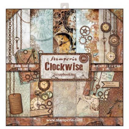 Zestaw papierów do tworzenia kartek i scrapbookingu - Stamperia - Clockwise
