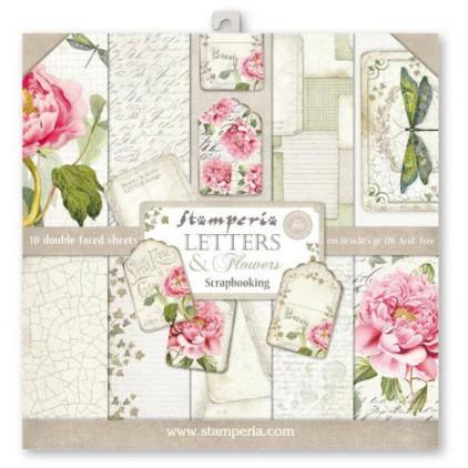 Zestaw papierów do tworzenia kartek i scrapbookingu - Stamperia - Letters & Flowers