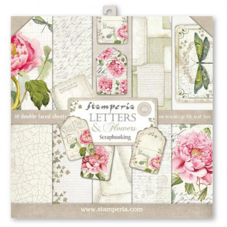 Stamperia - Set of scrapbooking papers - Letters & Flowers