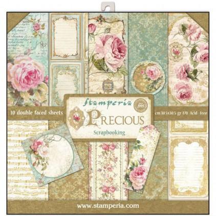 Zestaw papierów do tworzenia kartek i scrapbookingu - Stamperia - Precious