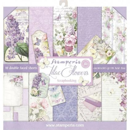 Zestaw papierów do tworzenia kartek i scrapbookingu - Stamperia - Lilac Flowers