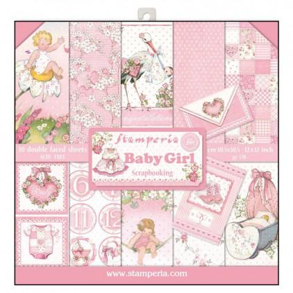 Zestaw papierów do tworzenia kartek i scrapbookingu - Stamperia - Baby Girl
