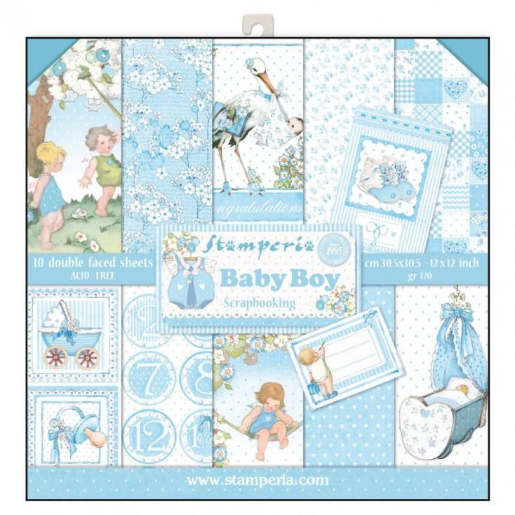 Zestaw papierów do tworzenia kartek i scrapbookingu - Stamperia - Baby Boy
