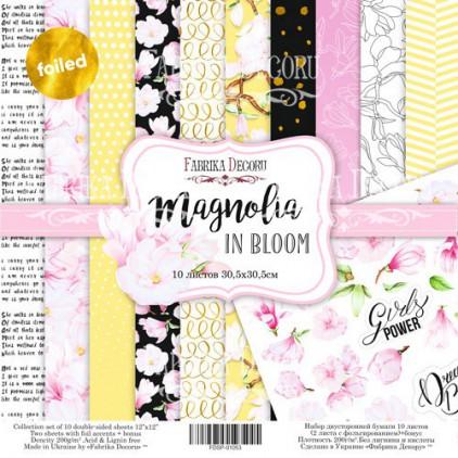 Zestaw papierów do tworzenia kartek i scrapbookingu - Fabrika Decoru - Magnolia w rozkwicie - ze złoceniami