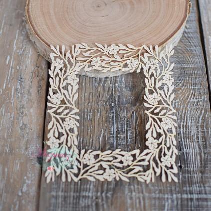 Miszmasz Papierowy - Tekturka - ramka kwadratowa z kwiatami jabłoni