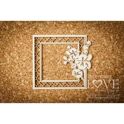 Cardboard- vintage orchid frame - 1 pcs. -LA171056 -Laserowe LOVE